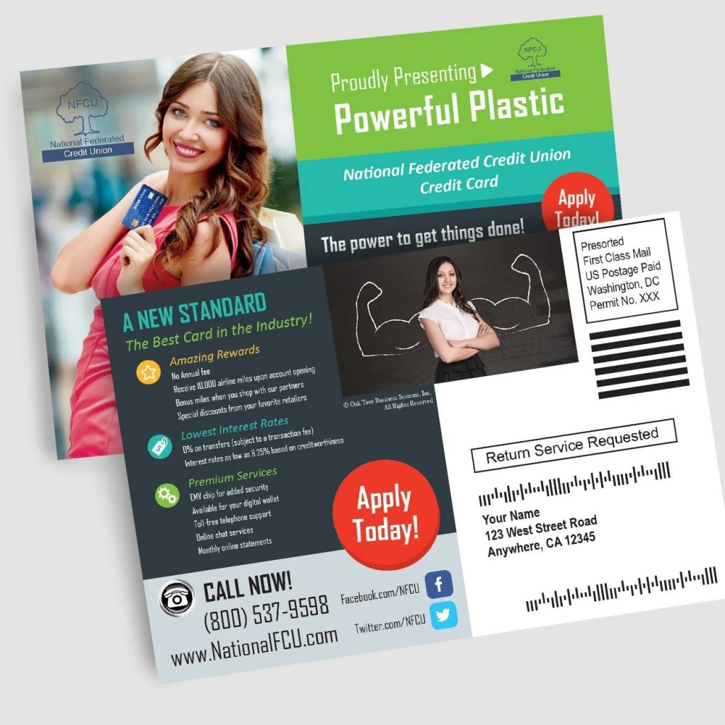 Credit Union Marketing Services Sample - Direct Mail Postcards